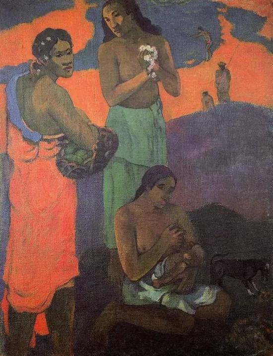 保罗·高更,《海滨的三个女人》,1899布面油画72 x 94 cm,现藏于艾尔米塔什博物馆