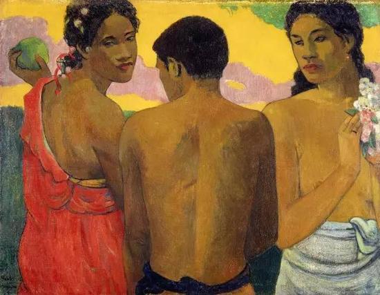 保罗·高更,《三个塔希提人》1899,布面油画73×94cm现藏于英格兰国立美术馆