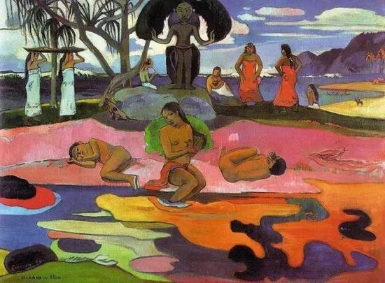 保罗·高更,《神之日》,1894布面油画,现藏于芝加哥艺术学院