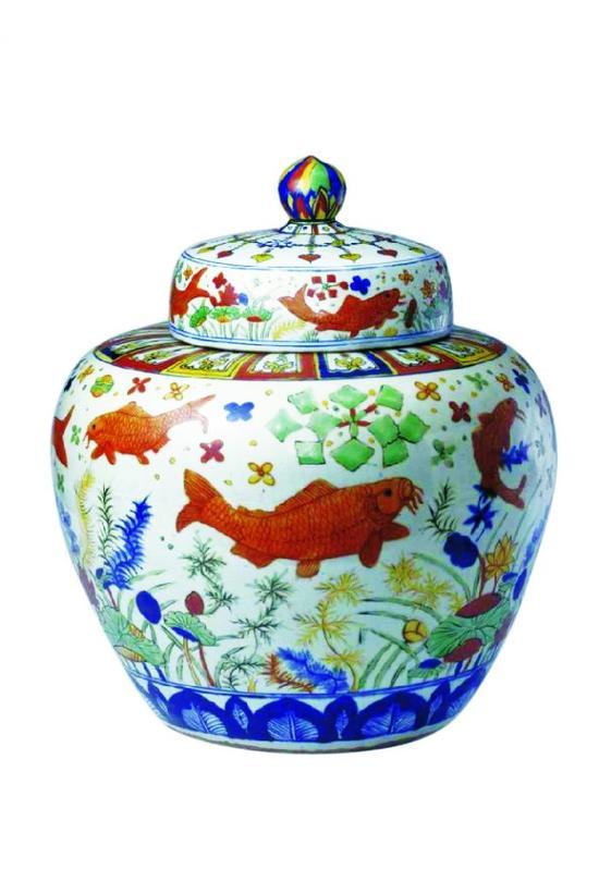 五彩鱼藻纹盖罐 故宫