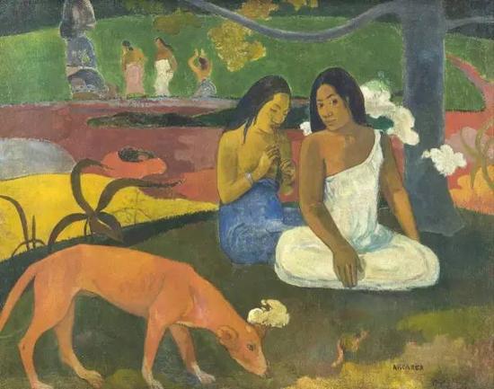 保罗·高更,《Arearea》,1892,布面油画75×94cm现藏于巴黎奥赛博物馆
