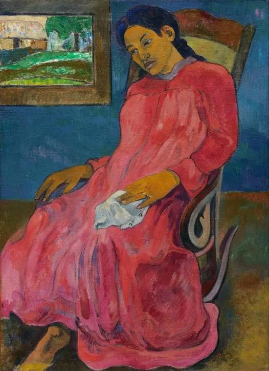 保罗·高更,《忧郁者》,1891,布面油画现藏于纳尔逊-艾特金斯美术馆