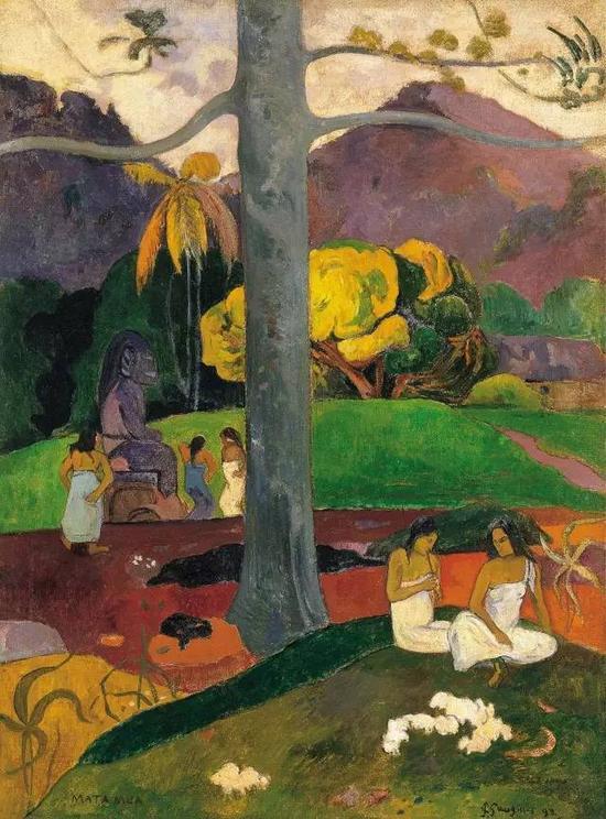 保罗·高更,《In Olden Times》,1892布面油画91 × 69 cm现藏于提森-博内米萨博物馆