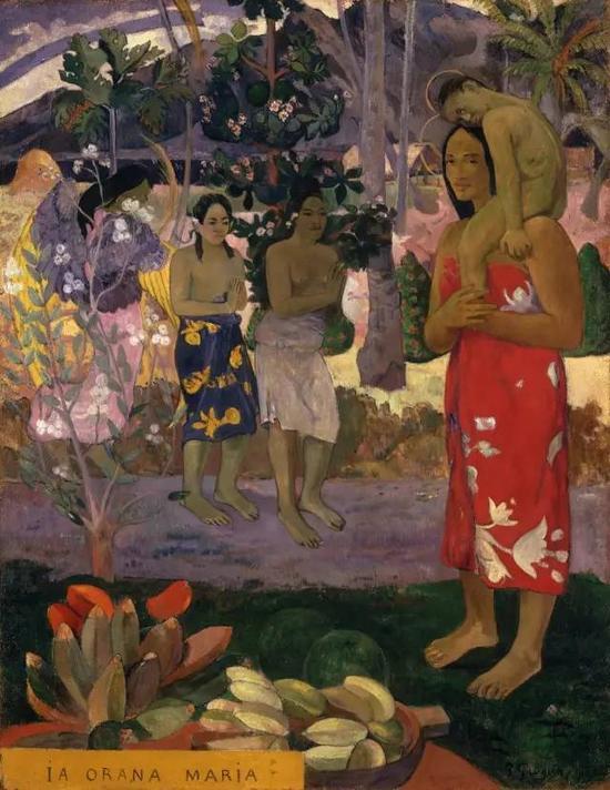 保罗·高更《Hail Mary》1891,布面油画114×88cm现藏于纽约大都会博物馆