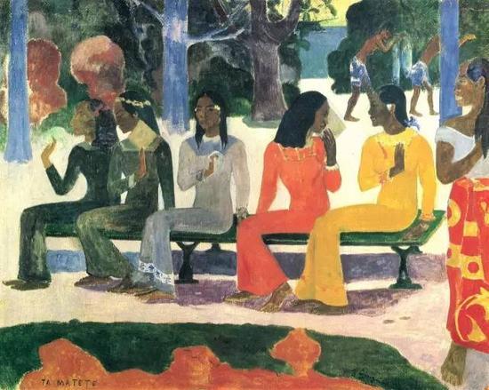 保罗·高更,《We Shall Not Go to Market Today》,1892布面油画现藏于巴塞尔艺术博物馆