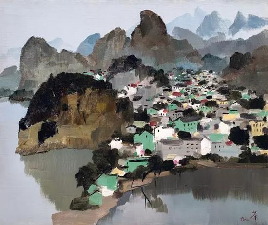 吴冠中 《桂林》 1991 年作 油彩画布裱于木板 44 x 53 cm。 估价:HK$ 15,000,000 - 25,000,000