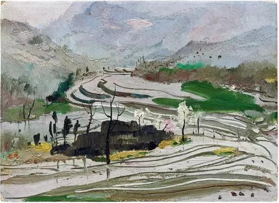 吴冠中 《蜀中水田》 1979 年作 油彩纸板 25.4 x 35.3 cm。 估价:HK$ 4,800,000 - 6,800,000