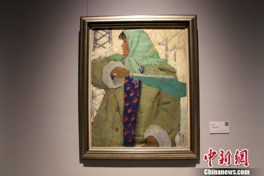 图为赵友萍1959年创作的油画《工地指挥员》。 曾洁 摄