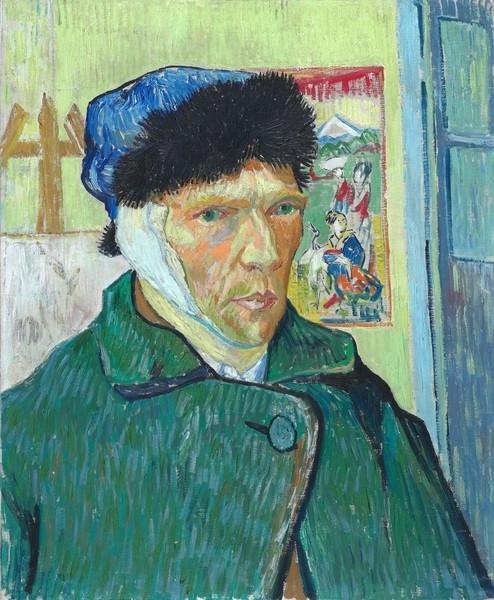 文森特·梵高,《耳朵缠绷带的自画像》,1889年