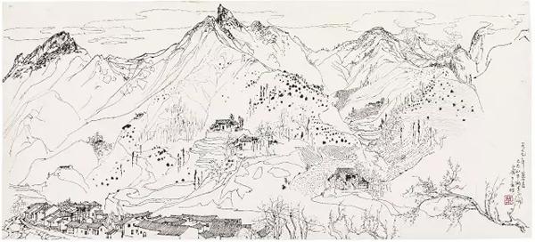 吴冠中 《大巴山中桃李正开》 1979 年作 碳素墨水钢笔宣纸 46.5 x 103.5 cm。 估价:HK$ 3,000,000 - 4,000,000