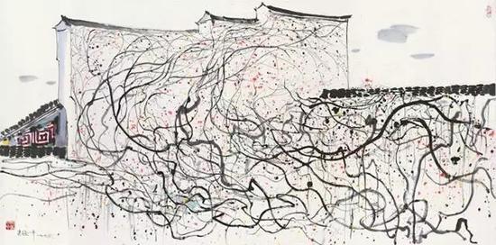 吴冠中 《墙》 1993 年作 设色纸本 68.5 x 137.5 cm。 估价:HK$ 5,000,000 - 8,000,000