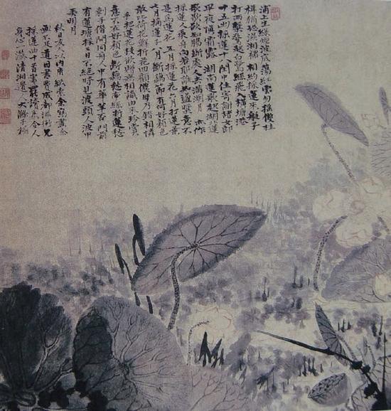 蒲塘秋影图 纸本设色 上海博物馆