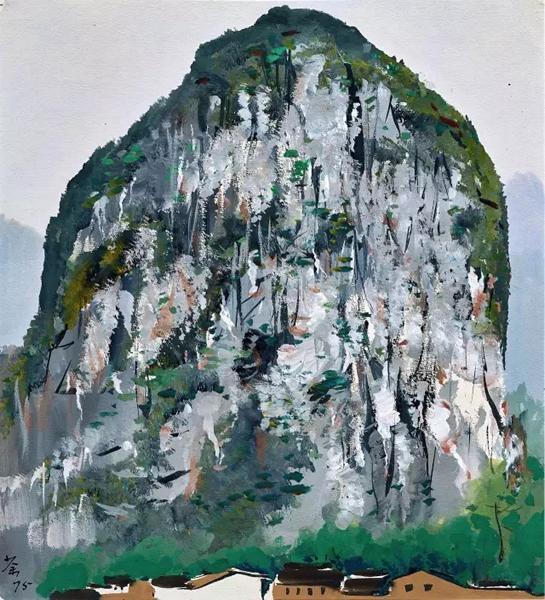 吴冠中 《桂林山石》 1975 年作 水粉纸本 39.3 x 35.5 cm。 估价:HK$ 3,000,000 - 4,600,000