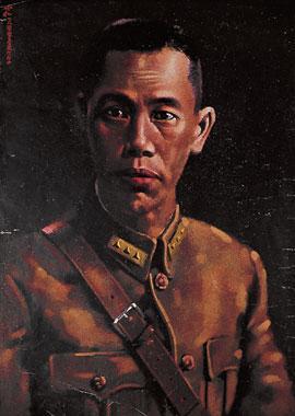 1932年淞沪抗战时期,在上海发行的蒋兆和作《蔡廷锴画像》宣传品