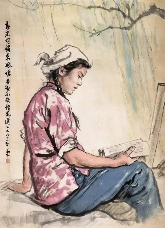 学习毛主席著作(春光明媚)  109×79cm 1961年
