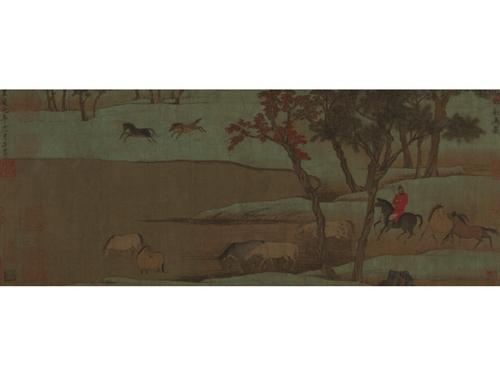 赵孟頫秋郊饮马图卷。图片来源:故宫博物院网站