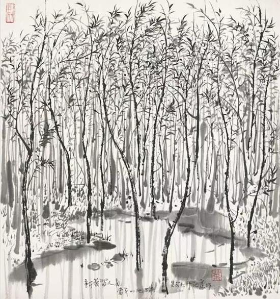 吴冠中 《春忆》 设色纸本 50 x 45.5 cm. 估价:HK$ 2,000,000 - 3,000,000