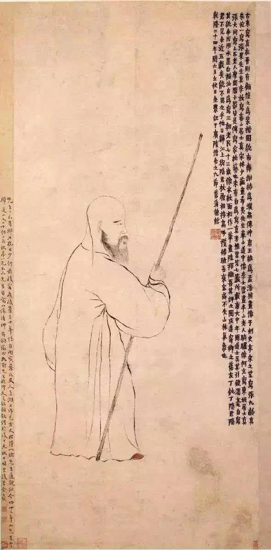 金农《自画像》,纸本墨笔,清代,北京故宫博物院藏