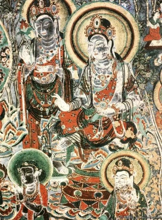 敦煌壁画(二一七窟)四菩萨