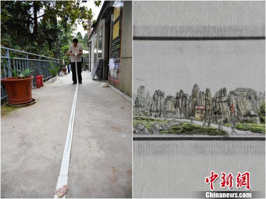 图为冉隆泉创作的《云南风光》微型国画。 刘冉阳 摄
