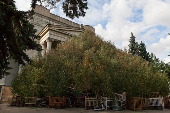 《秋天》, 2017。手推车、婴儿床、白桦树。约23米宽,15米高。于普希金国家艺术博物馆,2017年。赵小意摄,蔡工作室提供