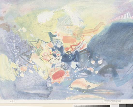 无题,朱德群,60X80cm,版画,2001