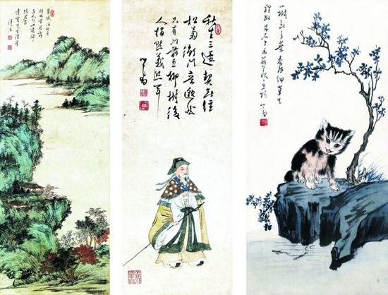 溥心畬|霞林翠巘(左)、五柳先生像(中)、狸奴羨魚(右)