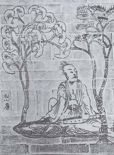"""""""竹林七贤与荣启期""""模印砖画之嵇康(局部,拓片)"""