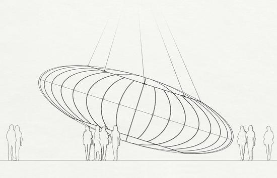就像布的设计一样,材料的约束构造出作品的几何形状