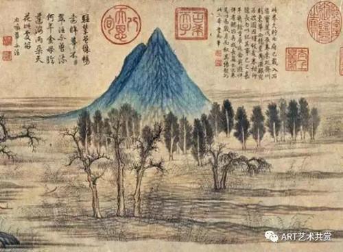 乾隆还对自己的字有着谜之自信,就喜欢在偶像的作品上题字,他的字和赵孟頫的字呈现在同一张纸上,实在是一种残酷的对比。