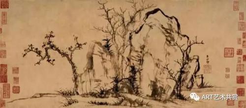赵孟頫秀石疏林图