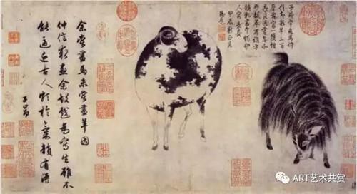 赵孟頫,二羊图,弗利尔美术馆藏