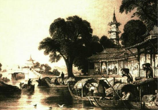 19世纪英国人托乌斯·阿罗姆所绘南浔丝市盛况