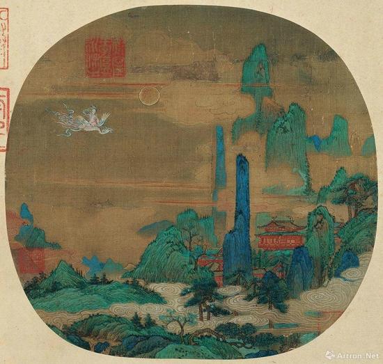 南宋 佚名《仙山楼阁图页》 绢本 25.3*26.8cm 辽宁省博物馆藏