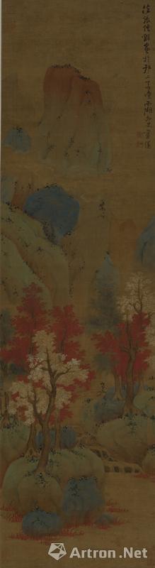 明 蓝瑛 丹枫红树图轴 绢本设色 纵184.3厘米 横50.8厘米 上海博物馆藏