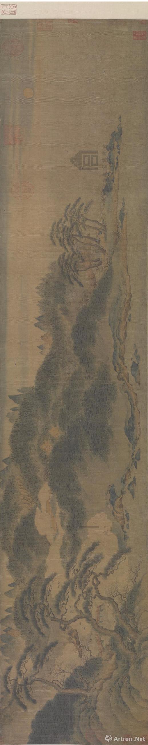 南宋 赵伯骕《万松金阙图》卷 绢本 青绿设色 纵27.7cm,横136cm