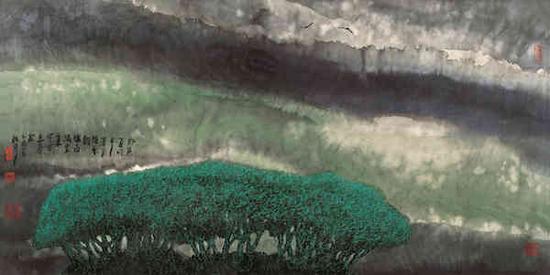 周韶华,《楚天听雨》,纸本水墨,68cm×136cm,2005