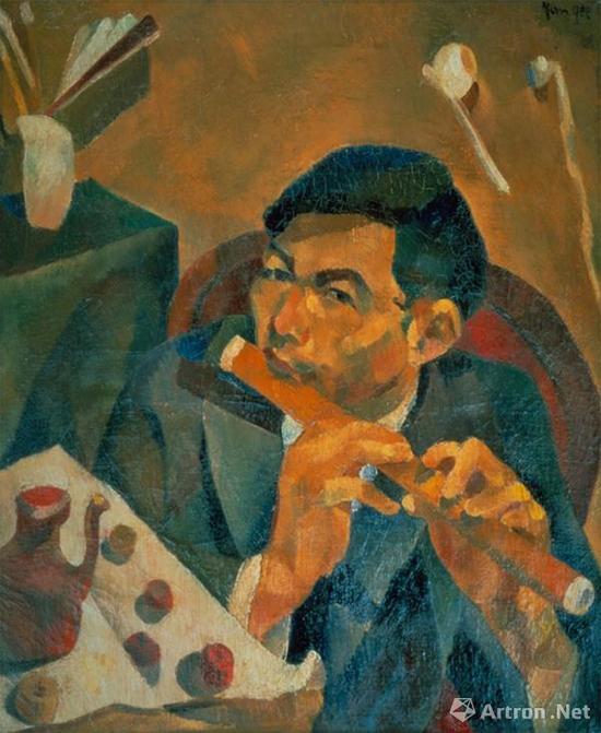 朱沅芷《吹笛者(自画像)》布面油画 1928年