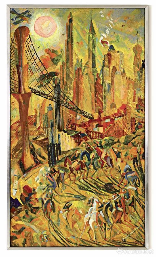 朱沅芷《工业之轮在纽约》油画画布 213x123cm 1932年作 香港苏富比秋拍估价:80,000,000-120,000,000港元