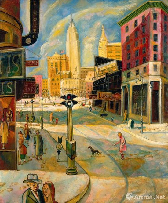 朱沅芷《欢乐节庆的百老汇》121x101cm 布面油画 1943-44年