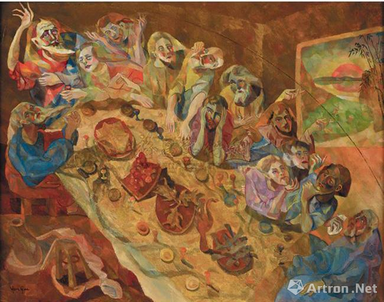 朱沅芷《最后的晚餐》73×91cm 布面油画 1933年,2009年香港苏富比春拍以602万港元成交
