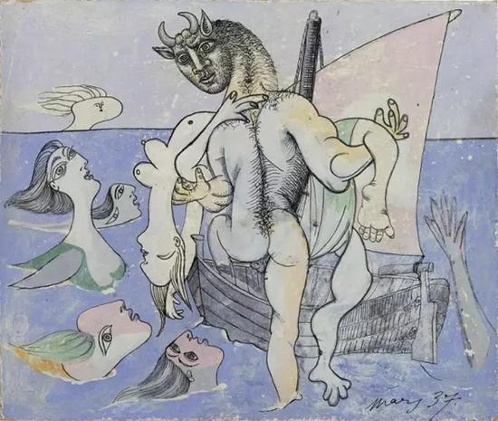 毕加索,《牛头怪将女人救上船》,1937年