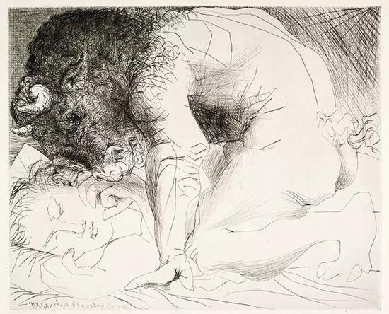 毕加索,《牛头怪爱抚熟睡女子》,1933年