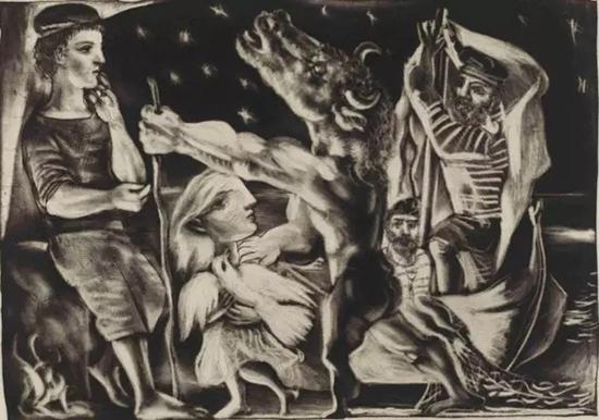 毕加索,《暗夜里被小女孩引领的失明牛头怪》,1937年