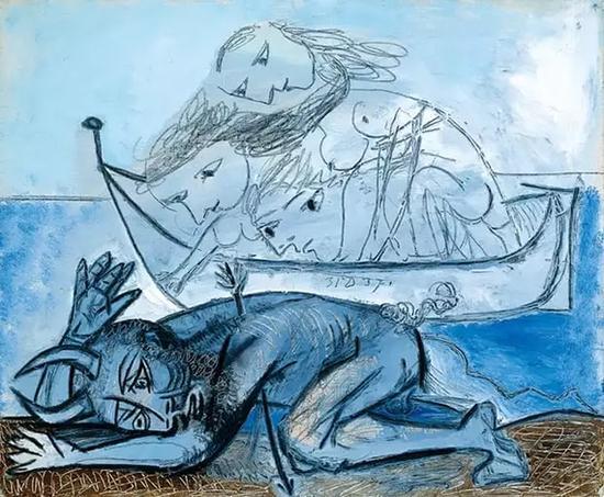 毕加索,《牛头怪受伤了》,1937年