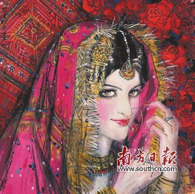 《访问巴基斯坦组画——新娘》(中国画) 林墉 作