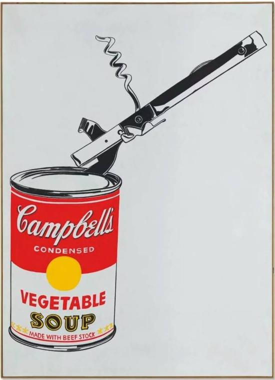 安迪·沃霍尔,《大罐坎贝尔汤罐头和开罐器(蔬菜汤)》(Andy Warhol, Big Campbell's Soup Can with CanOpener (Vegetable) ),1962。图片:Courtesy of Christie's Images Ltd