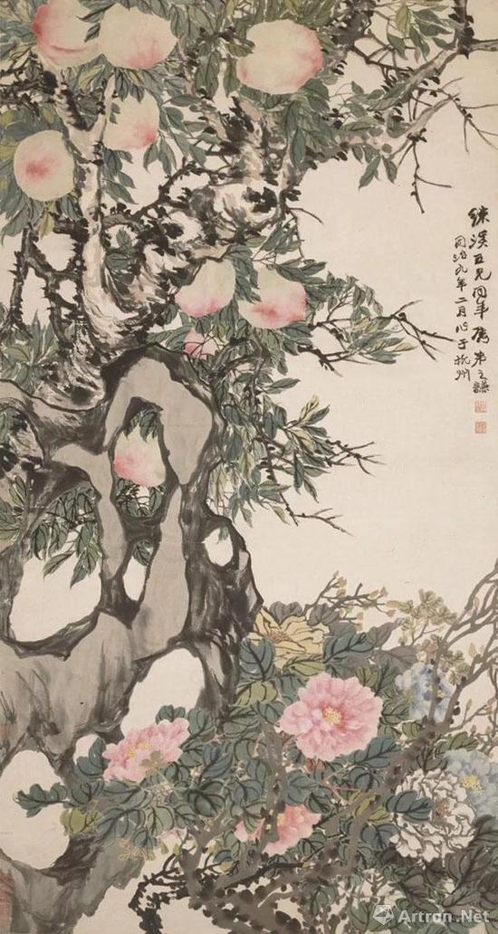 赵之谦《桃宾牡丹图轴》上海博物馆藏