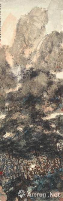 傅抱石 《西山夜渡图》 1945年作 设色纸本 177.8x57公分 估价待询