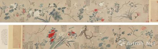 唐寅绘、文徵明题《群卉图卷》 设色纸本 估价:600-800万港币